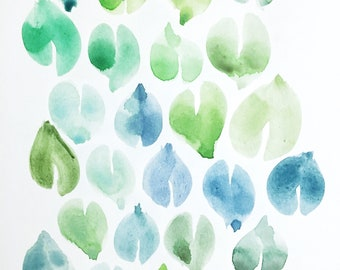 Leaf Study #1 in Blues and Greens – 8x10 inch Watercolor Painting and Illustration of leaves