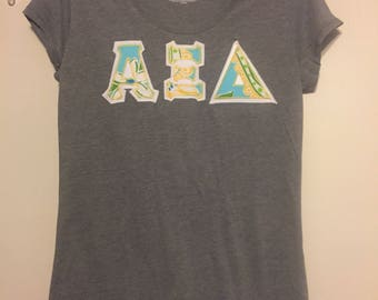 AXiD tee with Lilly Pulitzer fabric letters