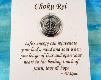 Choku Rei Pendant, Inspirational Jewelry, Personalize, Reiki Symbol Necklace, Energy Jewelry, Large Fine Silver Pendant