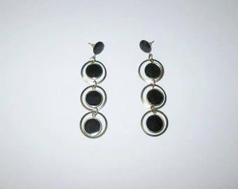 Vintage 1960s Mod Dangle Earrings / 60s Black And Gold Circle Dangle Earrings For Pierced Ears