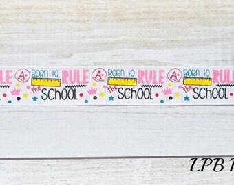 Back to School, Back to School Ribbon, US Designer Ribbon, Ribbon by the Yard, Glitter Ribbon