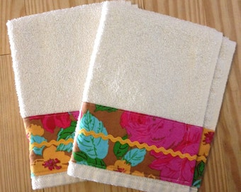 SUPER SALE Towels- set of two Cotton Terry Fingertip Hand Towels - Multi Floral- Ready to Ship