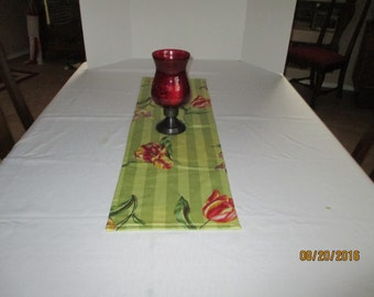 Table runner, floral, greens, tulips, home living, kitchen & dining, dining room, table linens, table, home decor, bedroom, dresser scarf