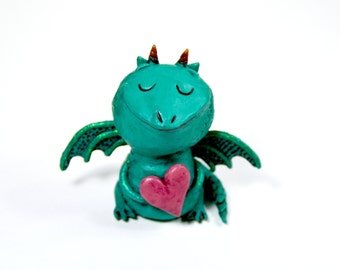 Heartfelt Dragon Figurine - One of a Kind Art Sculpture