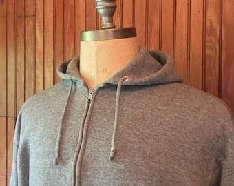 Vintage Large Hoodie Heather Gray Zip Up Sweatshirt Blank Men's 80s Tri Blend Jerzees Made In USA