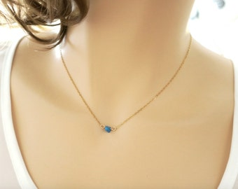 Tiny Turquoise Necklace Blue and Gold Necklace Minimal Natural Stone Beach Beachy Jewelry Turquoise Bridesmaid Blue Wedding Jewelry Gift