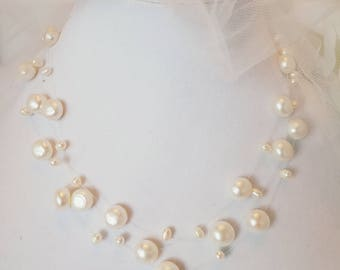 Floating Pearl Necklace, Illusion Necklace, 3 Strand, Bridal Jewelry, Wedding, Bridal Accessories, White Freshwater Pearls, Forever Keepsake