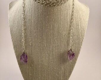 Amethyst necklace, February Birthstone, Amethyst Pendant, Healing Stone, Wrap Necklace, Choker Necklace, Spiritual, Geode, Purple,