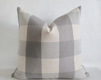 12 x 18 Lumbar Pillow Cover Buffalo Check Putty Grey & Vanilla Both Sides Zipper