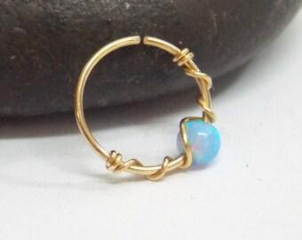 Helix Earring - Septum helix - Opal Septum Rings - Ring - Septum Ring - Septum Piercing - Cartilage Hoop opal helix hoop helix piercing