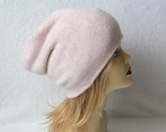 Cashmere hat Slouchy beanie Pure cashmere hat light pink
