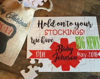 Pregnancy Annoucement Puzzle - Christmas Puzzle - New Grandparent Reveal - Baby Annoucement - Custom Puzzle - Grandparent Gift - Puzzle Gift