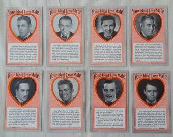 Vintage Trading Cards. 8 Cards Ideal Love Mate. 1941. Valentine.