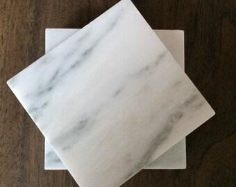 """Carrara Marble sous-verres 4 """"x 4» lot de 4"""