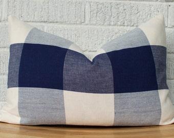 Navy Cream Buffalo Check Pillow Cover, Rectangular Lumbar Plaid, Checkered, Cottage