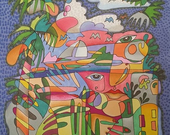 Abstract tropical coloring page instant digital download PDF energy painting