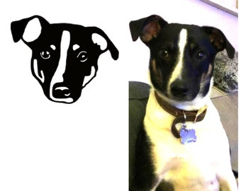 One of a kind adhesive vinyl decals of your favorite pet! Send a picture for a personalized pet portrait!