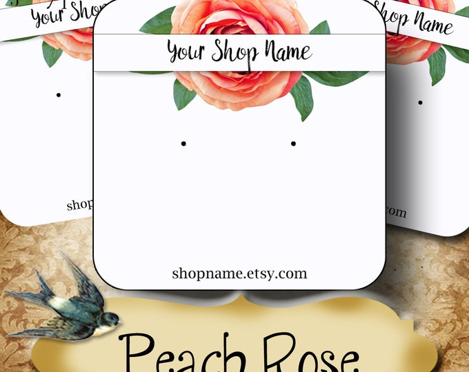 60•PEACH ROSE•Necklace Card•Earring Cards•Jewelry Cards•Display Card•Display•Earring Holder•Necklace Holder•2x2 or 3x3