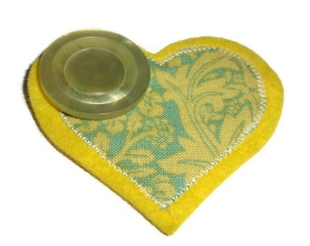Yellow Heart Brooch with Button. Handmade in Lincolnshire Fens.