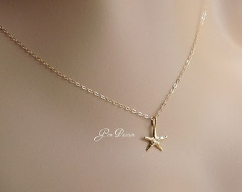 Gold Starfish Necklace, Gold Vermeil Starfish Charm, 14k Gold Filled Necklace, Beach Charm, Sea Charm Necklace Ready to ship!