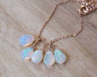 Welo opal pendant etsy opal cluster pendant on gold filled or sterling silver chain delicate ethiopian welo opal necklace mozeypictures Gallery