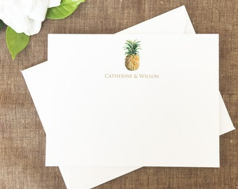 Watercolor Pineapple Note Cards, Pineapple Personalized Stationery, Hawaiian Pineapple Stationary, Pineapple Thank You Notes, Stationery