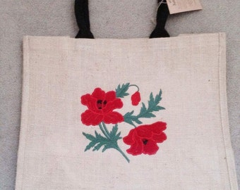Gorgeous embroidered poppy large jute bag