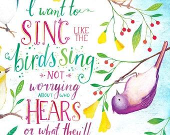 Inspirational Quote, Printable Art, Rumi Quote, Typography Art, Digital Prints, Bird Art, Wall Art Prints, Printable Poster