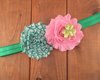 St Patricks Day Headband, St Pattys Day Headband, Irish Headband, Shamrock Headband, Newborn Headband, Baby Girl Headband, Photography Prop