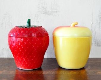 Vintage Hazel Atlas Milk Glass Apple and Strawberry Jelly Jars