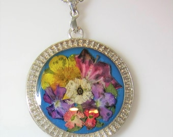 Flowers in Pastel, Pressed Flower Pendant, Real Flower Necklace,  Resin (3023)