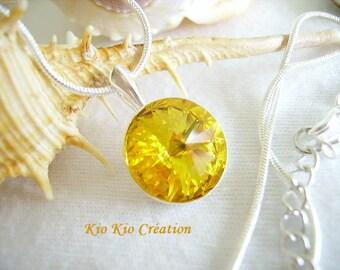 Choker necklace, pendant cabochon round swarovski crystal, rivoli, sunny yellow, Silver 925, whimsical jewelry, women, gift idea