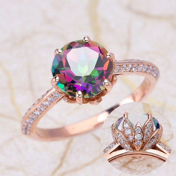 gold dp rings ring engagement black rainbow topaz junxin mystic solitaire cut round big wedding