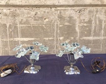 Pair of original ' 60 ' abat-jours with glass flowers