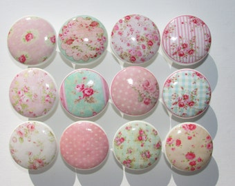 Set of 12 Shabby Pink Rose Knobs Group 2