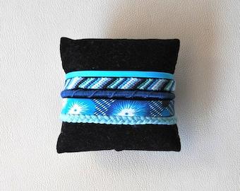 Cuff turquoise Navy Blue fancy Brazilian hippie bracelet multi strand blue flower Brasilda