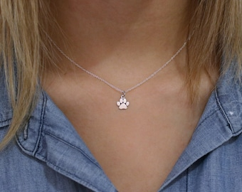 Paw Print Necklace - Sterling Silver Paw Print Necklace - Tiny Pawprint Necklace - Cat Dog Lovers Jewelry Pet Memorial Necklace Pet Jewelry