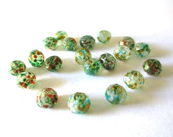 10 rondelle beads faceted speckled green and orange glass 6x5mm