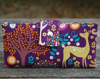 Women's wallet, deer gift idea, wallet for women, cute wallet, vegan wallet, credit card wallet, checkbook wallet