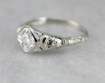 Stunning Art Deco Diamond Ring, Antique Engagement Ring, White Gold Floral Ring EEYLJ3-P