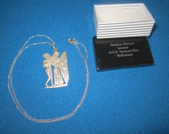 Vintage 1960s Sterling Silver NOS Necklace with Silver Egyptian Harpist Pendant New Old Stock