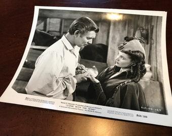 "Original 1968 Lobby Still ""Gone with the Wind"" Vivien Leigh Clark Gable Vintage Hollywood 8x10 Card Movie Photo Scarlett Green Curtain Dress"