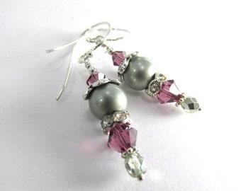 Bridesmaid Earrings in Swarovski Powder Green Pearls and Amethyst Crystals