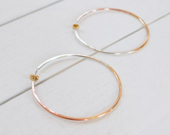 Aura Hoop Earrings, Mixed Metal Earrings, Simple Gold Hoops, Tri Color Earrings, Gold Filled, Sterling Silver, Rose Gold Hoops