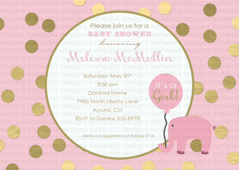 elephant theme baby shower invitation little girl 1st birthday ...