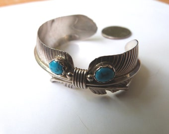 Vintage Native American Sterling Silver Turquoise Feather Cuff Bracelet