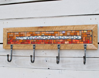 Entryway Coat Hooks, Wall Coat Rack, Coat Hooks, Mosaic Coat Rack, Orange and White Coat Rack, Hand Forged Hooks,Reclaimed Wood