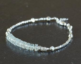 Aquamarine and sterling silver beads  bracelet