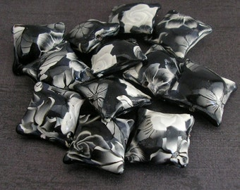 Black and White Beads, Polymer Clay Pillow Beads, Dozen Beads, Flower Beads - Made to Order