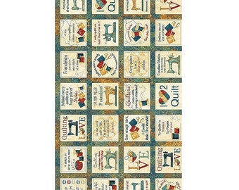 A Stitch in Time Panel 23in x 44in ~Sewing Picture Patches-Words/Copper Cotton Fabric By Northcott
